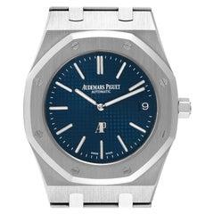 Audemars Piguet Royal Oak Blue Dial Steel Mens Watch 15202ST Box Papers