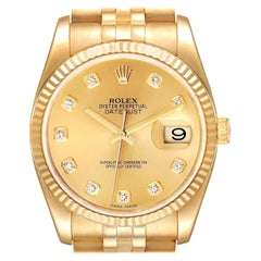 Rolex Datejust Yellow Gold Champagne Diamond Dial Mens Watch 116238