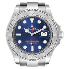 Rolex Yachtmaster Stainless Steel Platinum Blue Dial Watch 126622 Box Card