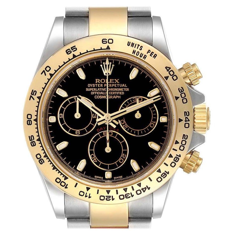 Rolex Cosmograph Daytona Steel Yellow Gold Black Dial Mens Watch 116503