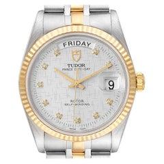 Tudor Day Date Linen Dial Steel Yellow Gold Diamond Watch 76213 Unworn