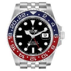 Rolex GMT Master II Pepsi Bezel Jubilee Steel Mens Watch 126710 Box Card