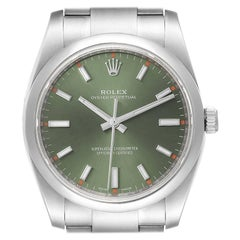 Rolex Oyster Perpetual Olive Green Dial Steel Watch 114200 Box Card