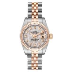 Rolex Datejust Steel EveRose Gold Meteorite Diamond Ladies Watch 179171