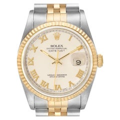 Rolex Datejust Steel Yellow Gold Ivory Roman Dial Mens Watch 16233 Box Papers