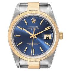 Rolex Date Steel Yellow Gold Blue Dial Oyster Bracelet Mens Watch 15223