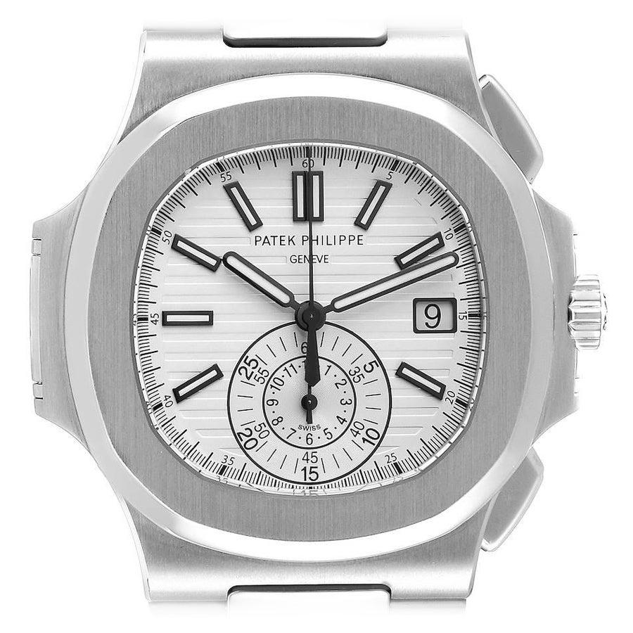 Patek Philippe Nautilus White Dial Steel Mens Watch 5980 Box Papers
