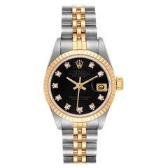 Rolex Datejust Steel Yellow Gold Black Diamond Dial Ladies Watch 69173