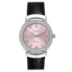 Rolex Cellini Cellissima White Gold Diamond Rose Dial Ladies Watch 6671