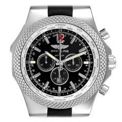 Breitling Bentley GMT Black Dial Steel Mens Watch A47362 Box Papers