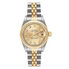 Rolex Datejust Steel Yellow Gold Diamond Ladies Watch 69173
