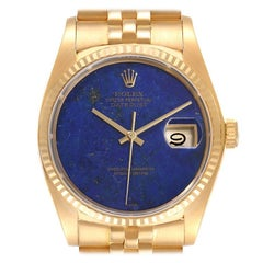 Rolex Datejust 18k Yellow Gold Lapis Lazuli Dial Vintage Mens Watch 16018