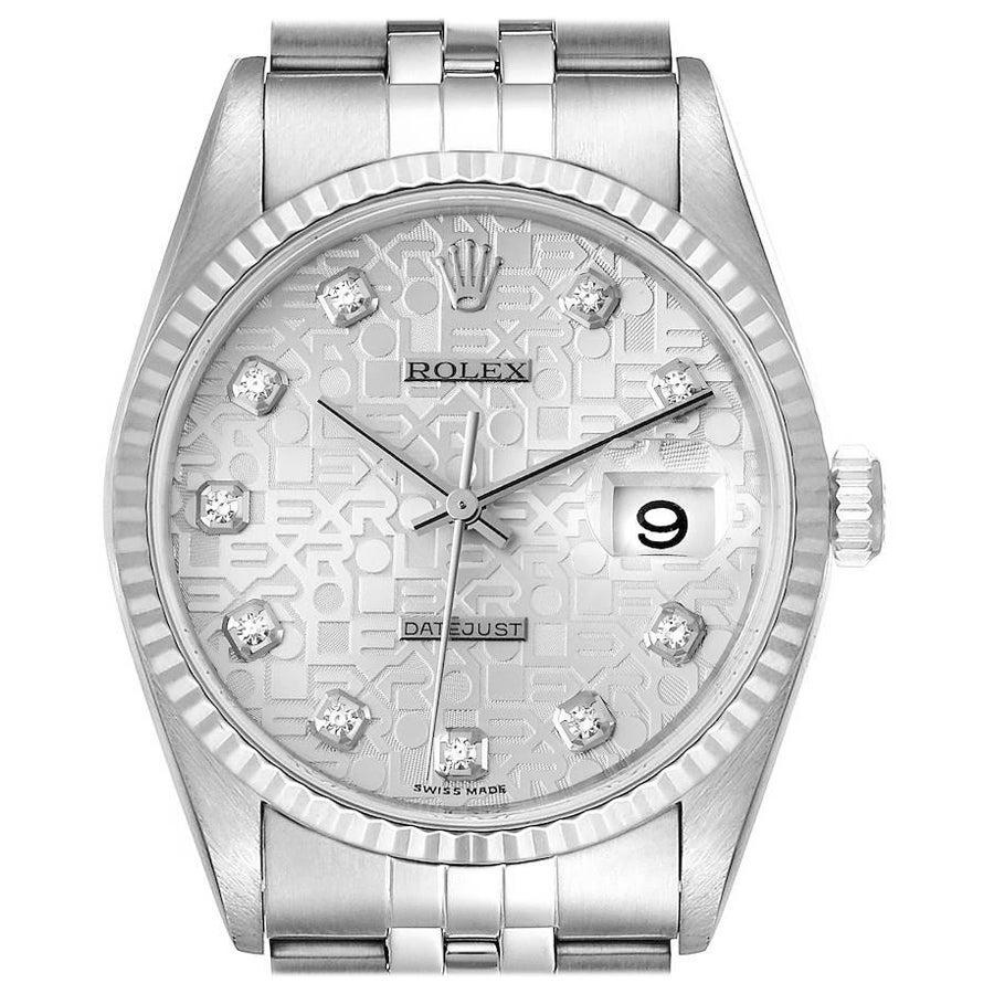 Rolex Datejust Steel White Gold Silver Diamond Dial Mens Watch 16234