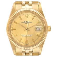 Rolex Date Mens 14k Yellow Gold Champagne Dial Vintage Mens Watch 15007