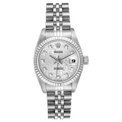 Rolex Datejust Steel White Gold Silver Diamond Dial Watch 69174 Box Papers