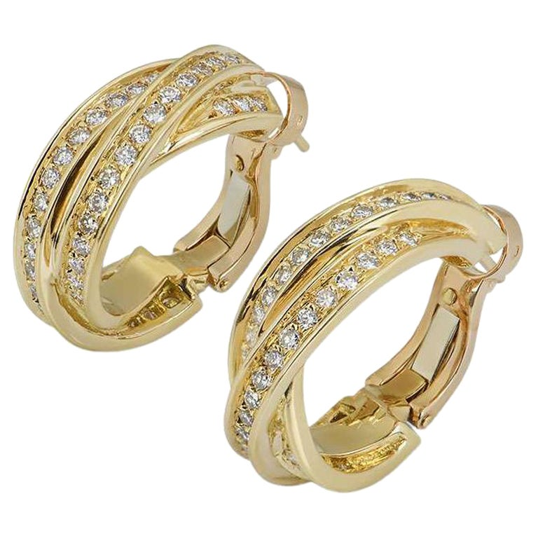 Cartier Yellow Gold Diamond Trinity Earrings For Sale