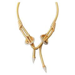 Retro 18 Karat rose Gold Platinum Gas Pipe Necklace with Diamonds, 1940s