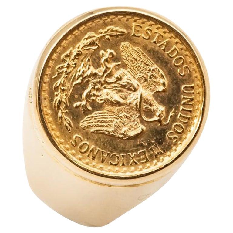 Yellow Gold Coin Ring 24 Carats Napoleon III Emperor