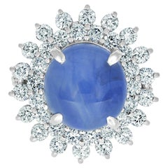 16.17ct Star Sapphire Ring with 2.33tct Diamonds Set in Platinum 900