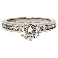 Tiffany & Co. 1.43 Carat Total Round Diamond Platinum Engagement Ring F / VVS2
