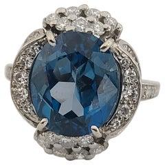 Stunning Vintage Retro Deco Signed Gubelin Palladium Fine Diamond Cocktail Ring