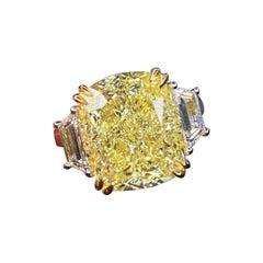 GIA Certified 5 Carat Fancy Yellow Cushion Cut Diamond Ring VVS1 Clarity