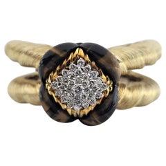 La Triomphe Outrageous 14k Gold Fine Diamond Tiger Eye Rams Horn Cuff Bracelet