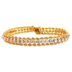 1.50 Carat Natural Round Diamonds Rope Twist Link Tennis Bracelet 14kt