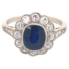 Art Deco 2.06 Sapphire Diamonds Platinum Ring