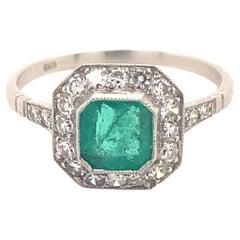 Vintage .95 Carat Emerald Diamonds Platinum Ring