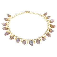 Barbara Heinrich Extraordinary Metallic Chinese Feather Pearl Gold Necklace