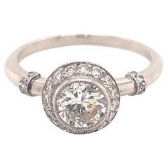 Vintage .89 Transitional Cut Platinum Engagement Ring