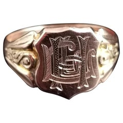 Antique 9 Karat Rose Gold Signet Ring, Monogrammed