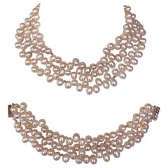 Marina J. Convertible Three in One All Pearl Necklace & Bracelet with 14K