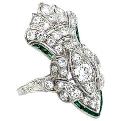 Unique Vintage Diamond and Emerald Ring Engagement Ring, 1.92ct