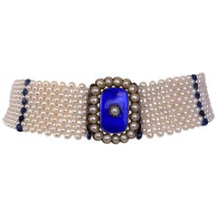 Marina J. Pearl & Sapphire Choker with Vintage Centerpiece and 14K White Gold