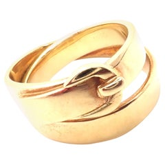 Hermes Buckle Double Row Yellow Gold Band Ring