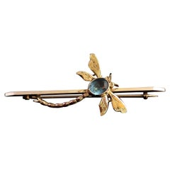 Antique Dragonfly Brooch, 9 Karat Yellow Gold, Blue Paste, Boxed