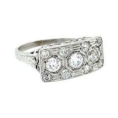 Vintage Filigree 18K White Gold Diamond Cluster Ring Engagement Ring, 1.60ct.