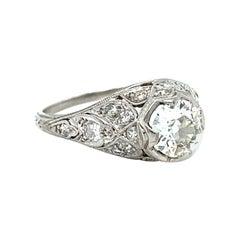 Stunning Art Deco Vintage Filigree Platinum Diamond Engagement Ring 1.00ct.