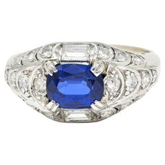 Art Deco 2.24 Car No Heat Madagascar Sapphire Diamond Platinum Scalloped Ring