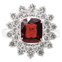 GIA Certified 2.09 Carat Natural Untreated Red Spinel Double Halo Ring