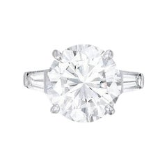 GIA Certified 6 Carat I Flawless Clarity Round Brilliant Cut Diamond Ring 3X