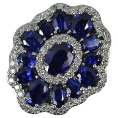 Stunning EFFY Blue Sapphire and Diamond 14ct White Gold Statement Cluster Ring