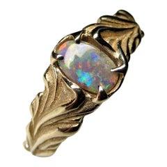 Dark Opal Yellow Gold Ring Multicolor Cabochon Unisex Engagement Australian Gem