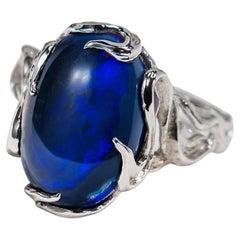 Black Opal White Gold Ring Dark Blue Cabochon Unisex Black Magic Stone Australia
