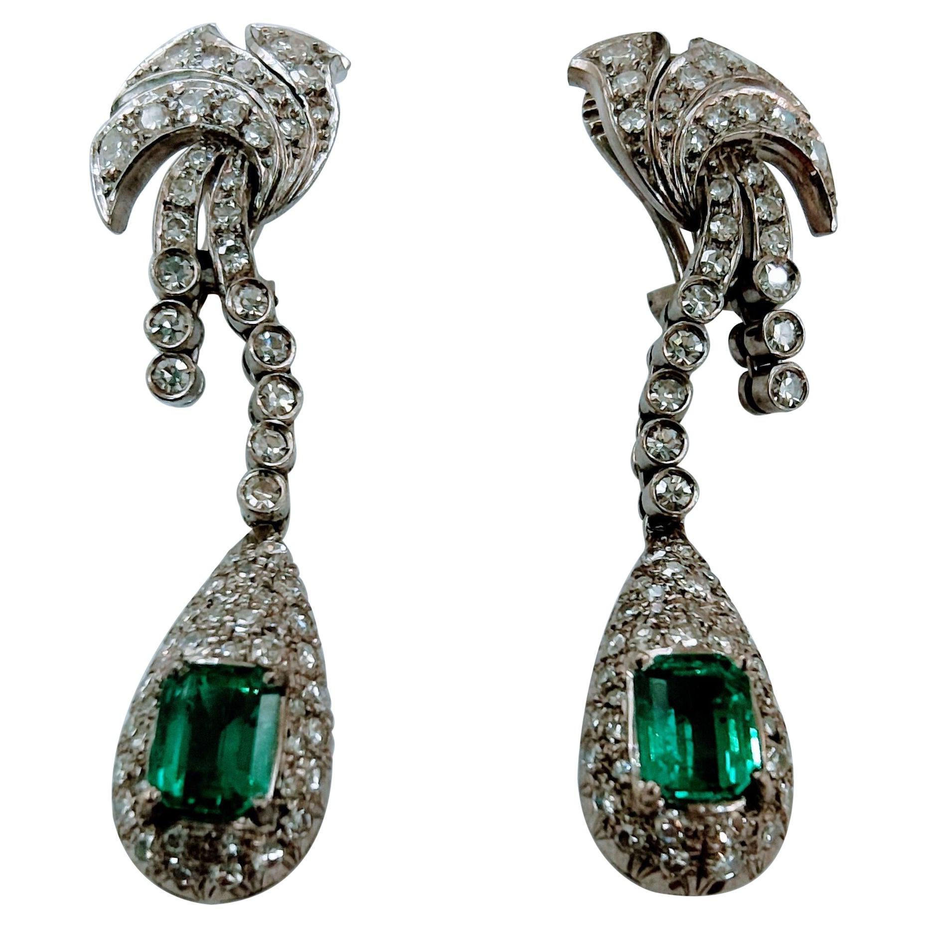Antique Earrings Art-Deco White Gold 18kt Emerald Colombian Diamond Single Cut