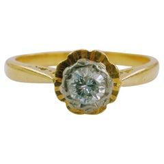 Antique Solitaire Ring Diamond Yellow Gold 18 Karat and Platinum