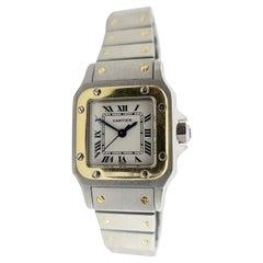 Vintage Cartier 18k Gold Steel Santos Automatic Ladies Watch