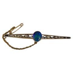 Edwardian Hardy Brothers Brisbane Diamond Black Opal Brooch Pin